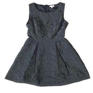 Floral Jacquard Mini Black Dress